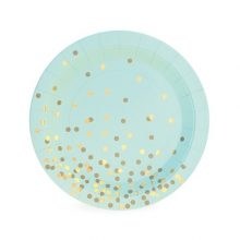 Mint To Be Dessert Plates by Paper Eskimo feature a pretty mint background and gold confetti