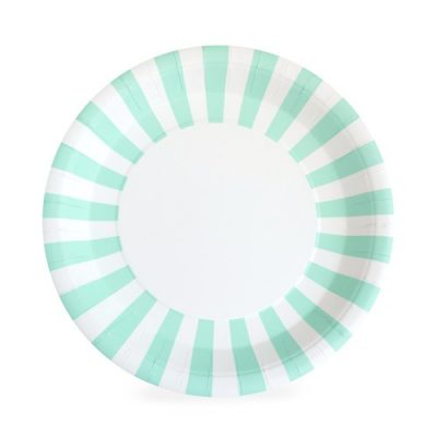 The Mint To Be Paper Plates by Paper Eskimo feature a stunning mint and white stripe.