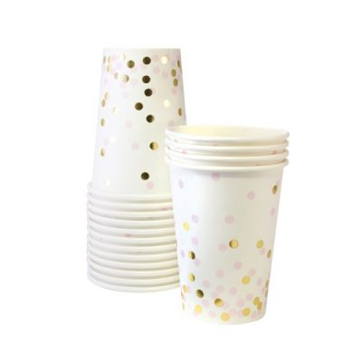 The Pink Confetti Paper Cups by Paper Eskimo look pretty with their pink and gold confetti design