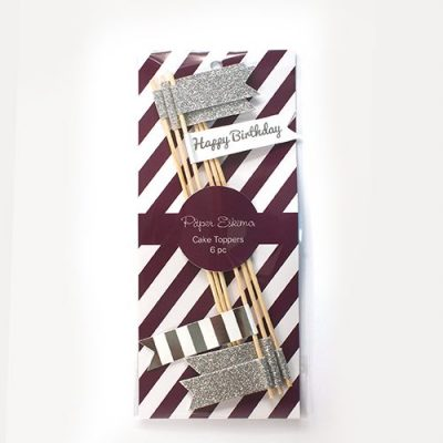 The Silver Flags Cake Topper features sparkly silver flags and a Happy Birthday message!