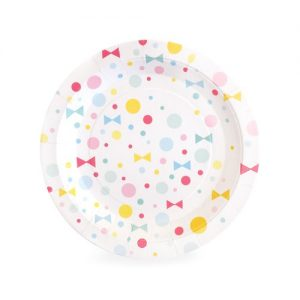 Use the Summer Bows dessert plates by Paper Eskimo and serve your party food in pastel style!