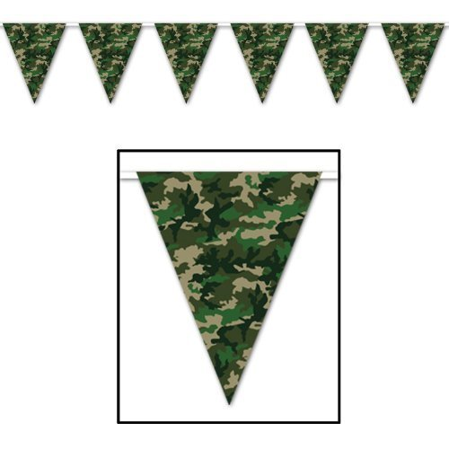 Camo pennant banner for a army, hunting or camo party.
