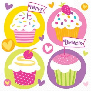 Cupcake Party Napkins featuring pretty cupcakes and Happy Birthday.