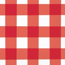 Red Gingham Paper Napkins for a Teddy Bears Picnic party