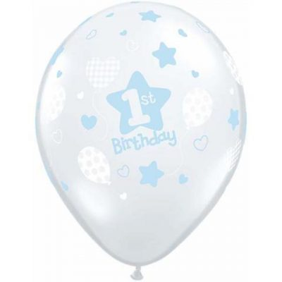 1st Birthday Soft Patterns Boy Balloons