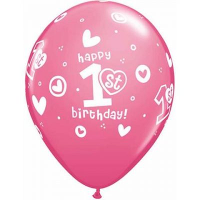 Pink 1st Birthday Circle Hearts Girl Balloons