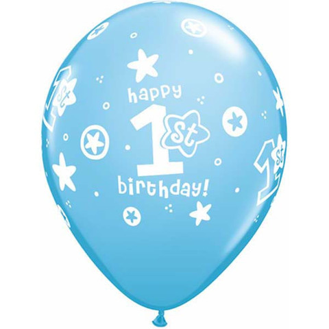 Blue 1st Birthday Circle Stars Boy Number Balloons by Qualatex in latex.