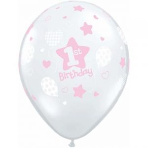 1st Birthday Soft Patterns Girl Balloons