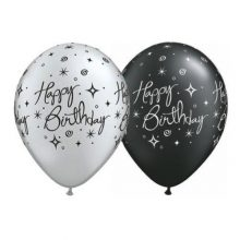 Black & Silver Birthday Balloons with elegant sparkles and swirls.
