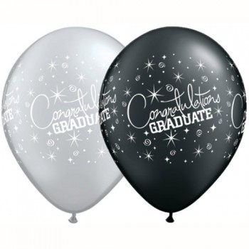 Black & Silver Congratulations Graduate Balloons for your graduation party.