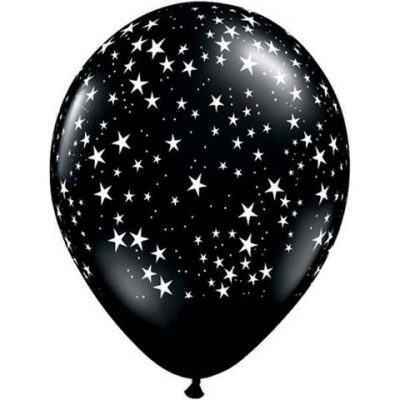 Black Stars-A-Round Balloons by Qualatex