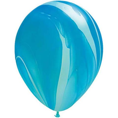 Blue Rainbow Marble Balloons by Qualatex SuperAgate.