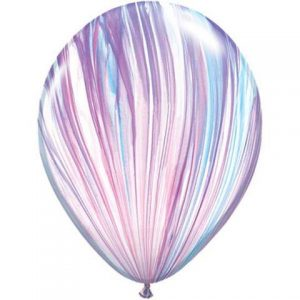 Fashion marble balloons by Qualatex SuperAgate feature pink, purple and blue tones.