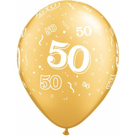 Gold 50-A-Round Balloons by Qualatex