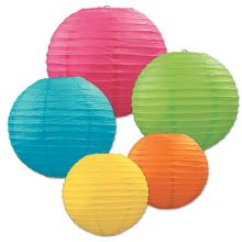 Paper Lantern Assortment in bright pink, blue, green, orange and yellow.