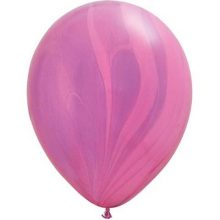 Pink Violet Rainbow Marble Balloons by Qualatex SupeAgate.