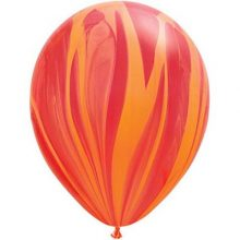 Red Orange Rainbow Marble Balloons by Qualatex SuperAgate.
