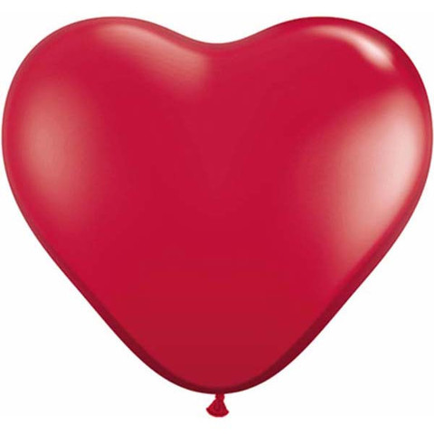 Ruby Red Heart Latex Balloons by Qualatex
