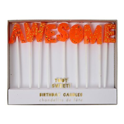 Awesome candles by Meri Meri in bright orange and gold.