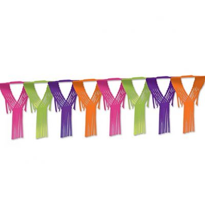 Enjoy the Bright Drop Fringe Garland for decorating your party space!