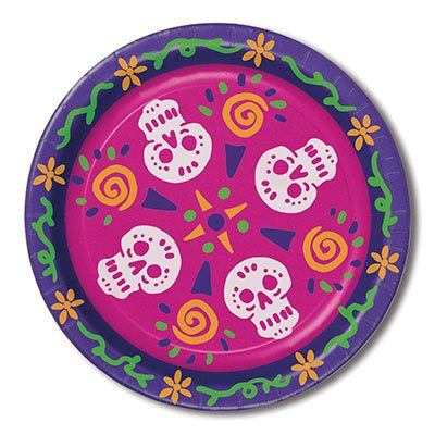 Day of the Dead paper plates featuring sugar skulls on a bright background.