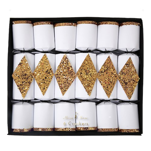 Gold Diamond Crackers by Meri Meri containing wine glass charms as fillers.