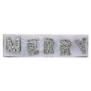 Mini Merry Christmas Garland by Meri Meri in glittery silver.