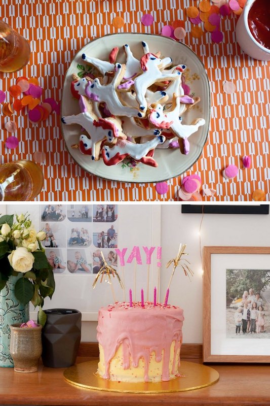 Pink and orange party theme with a Yay cake topper and unicorn cookies.