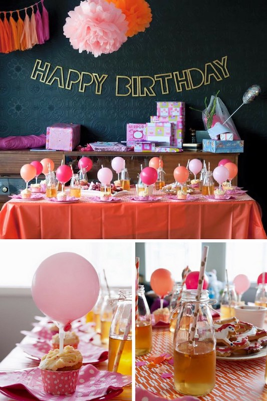 Pink, orange and gold party ideas for a children's birthday party.