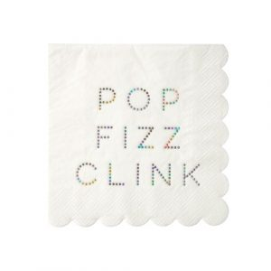 Pop Fizz Clink Holographic Foil Napkins by Meri Meri available in NZ.