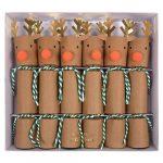 Mini reindeer crackers by Meri Meri including tattoos, jokes and hats.