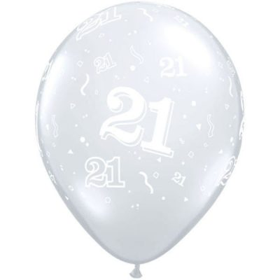 Diamond Clear 21 A Round Balloons for your 21st birthday party!