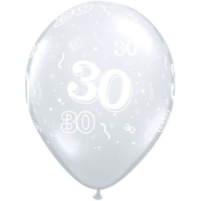 Diamond Clear 30 A Round Balloons for 30th birthday or anniversary party.