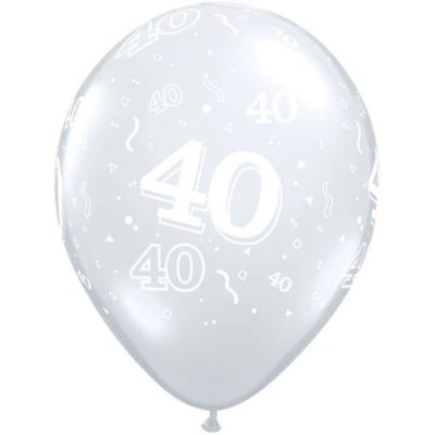Diamond Clear 40-A-Round Balloons for your 40th birthday or ruby wedding anniversary.