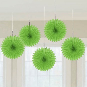 Lime green mini paper fans by Amscan are a bright green party decoration.