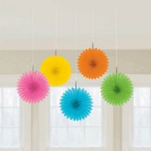 Multi colour mini paper fans are perfect for a Hawaiian luau or Mexican fiesta party!