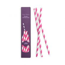 Pop Pink & White Stripe Paper Straws by Paper Eskimo.