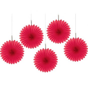 Red mini paper fans make great party pinwheel decorations.