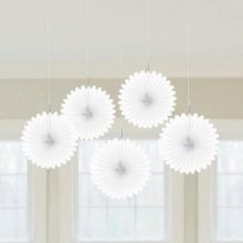 White mini paper fans are the perfect party decoration.