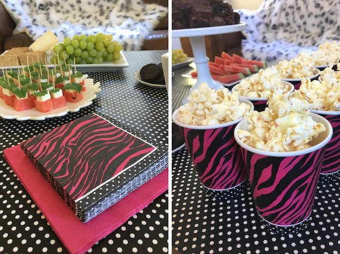 Pink zebra party food and popcorn.
