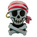 Jolly Roger Foil Balloon by North Star Balloons features skulls and crossbones for your pirate party.
