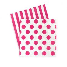 Pop Pink paper napkins by Paper Eskimo feature hot pink stripes and spots.