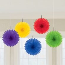 Rainbow mini paper fans by Amscan for your rainbow party decorations.