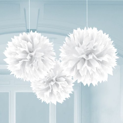 White fluffy hanging decorations by Amscan are stylish tissue paper pom poms for your event.