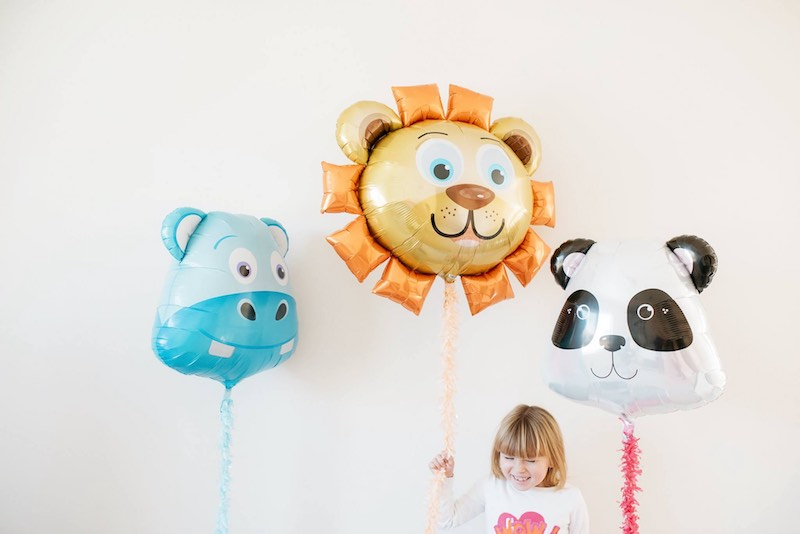 Party decor Big Head Panda, Lion and Hippo Balloons by Northstar Balloons.