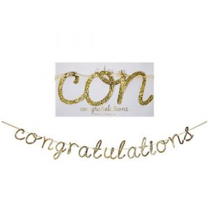 Gold congratulations garland by Meri Meri.