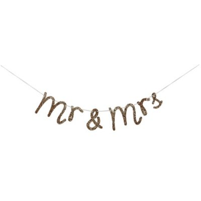 Gold Mr & Mrs Garland by Meri Meri.