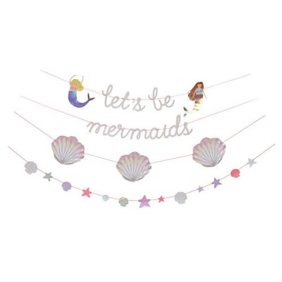 The Let's Be Mermaids Garland is the perfect mermaid birthday party decoration!