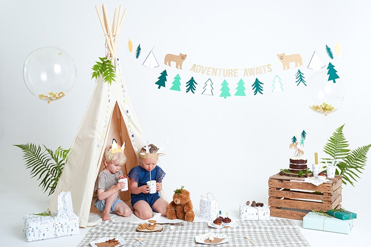 Camping and wilderness party theme featuring the Let's Explore range by Meri Meri.