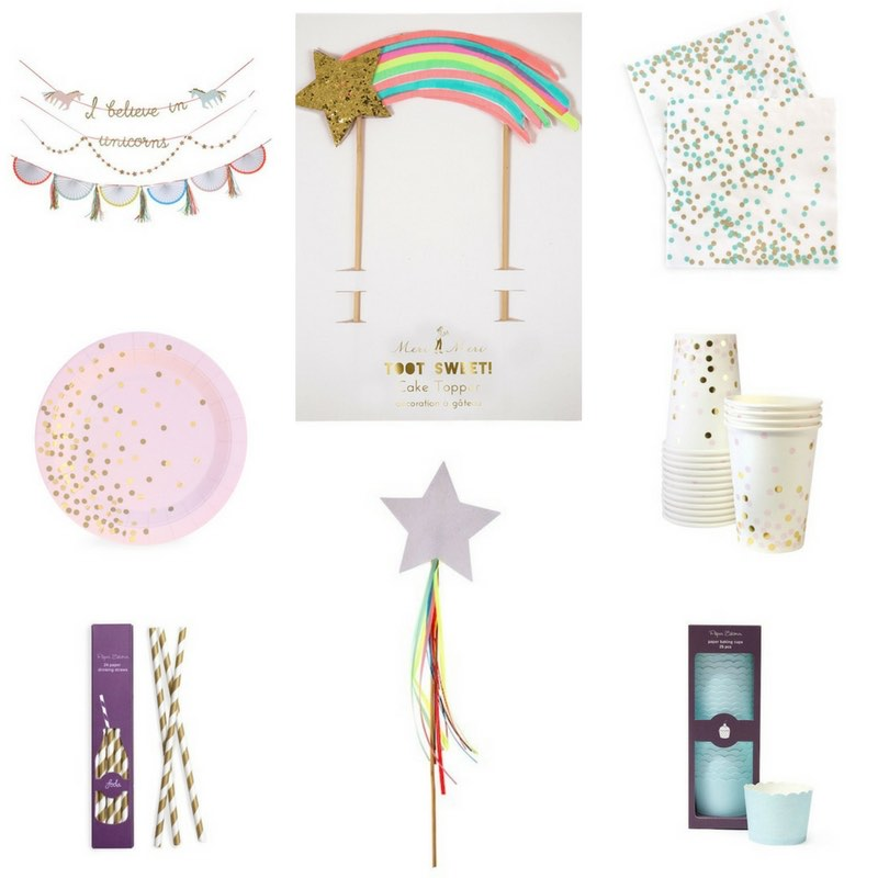 Unicorn birthday party supplies and decorations.